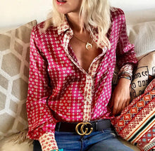 Casual Loose Long   Sleeve Printing Shirt Blouse