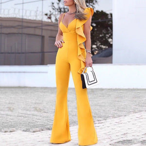 Sexy Off-Shoulder V Neck Ruffled Bare Back Splicing Pure Colour Jumpsuit
