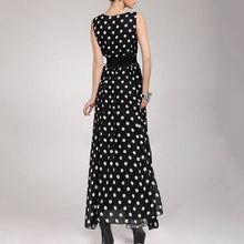 Fashion Round Neck Sleeveless Polka Dot Vacation Dress