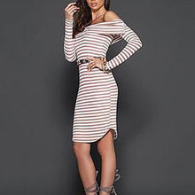 Sexy Off Shoulder Long Sleeve Stripe Bodycon Dress
