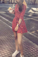 Fashion Deep V Collar Floral Printed Defined Waist Vacation Dress