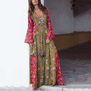 Sexy Fashion Ethnic V Collar Long Sleeves Floral Printed Maxi Dress