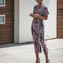 Fashion V Collar Colorful Printed Belted Jumpsuit