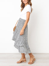 Casual High Waist Slim   Irregular Falbala Hemline Printing Skirt