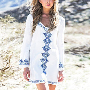 Casual Sexy V Neck   National Style Embroidery Pattern Mini Dresses