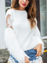 Crew Neck  Frayed Trim See-Through  Plain Sweaters