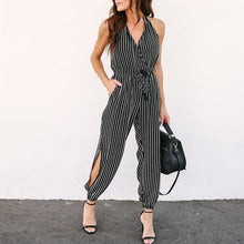 Halter V Neck Backless Stripes Fashion Jumpsuits