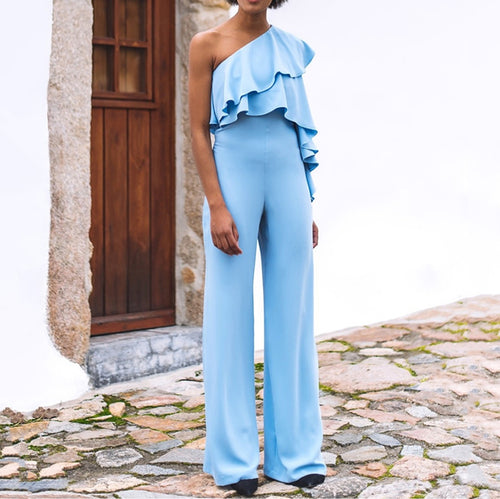 Commuting Irregular Ruffled Sloping Shoulder Pure Colour Jumpsuit