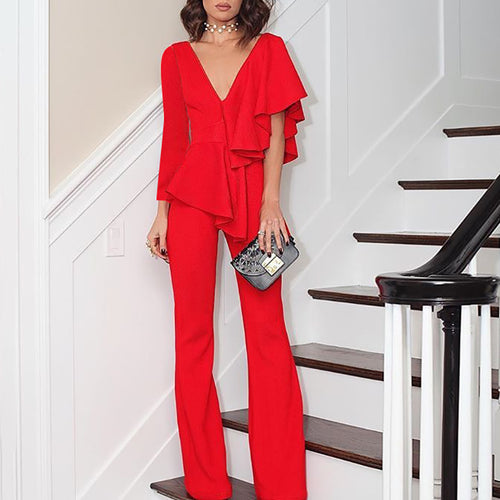 Commuting Irregular V Neck Ruffled Splicing Pure Colour Suit