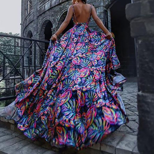 Casual Sexy Backless V Neck   Slim Floral Print Maxi Dresses
