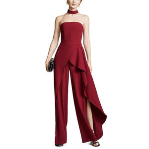 Commuting Irregular Ruffled Boat Neck Sleeveless Bare Back Off-Shoulder Jumpsuit