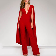 Fashion V Neck Splicing Ponchos Pure Colour Jumpsuit