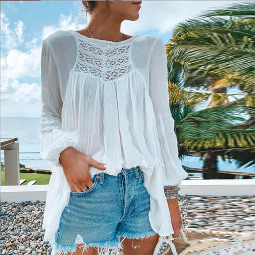 Fashion Round Neck Lace Splicing Long Sleeve T-Shirt