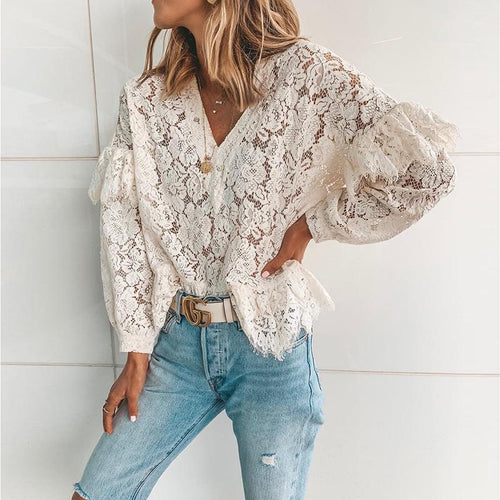 Casual Sexy Deep V   Neck Hollow Out Lace Shirt