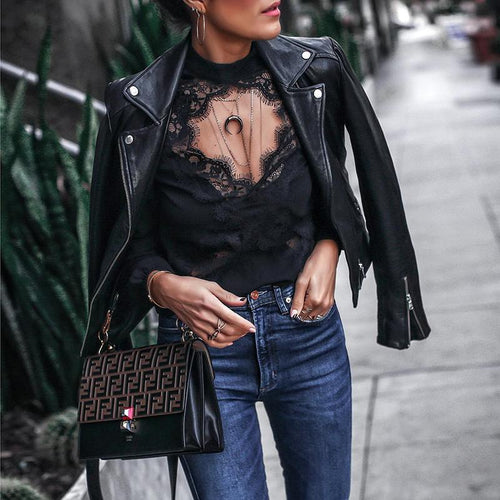 Casual Sexy Deep V   Neck Lace Splicing Knitted Shirt