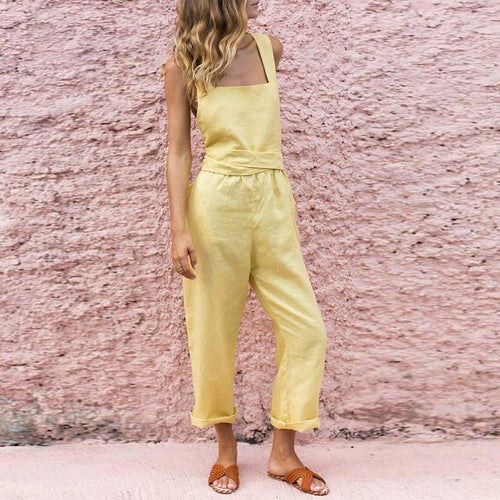 Fashion Pure Colour Sling Sleeveless Jumpsuits
