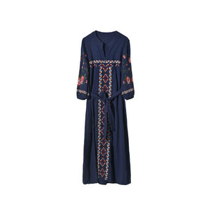 Elegant Bohemian Inwrought V Neck Belted Ruffled Dress