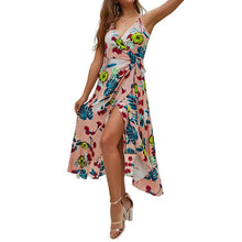 European And American Women's Sling Prints Medium And Long Vacation Dresses