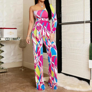 Cool Plant Print Jumpsuit