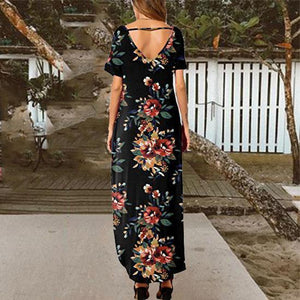 Casual V-Neck Flower Print Maxi Dress