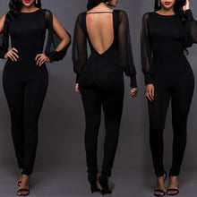 Sexy Open Back Long Sleeve   Chiffon Paneled Jumpsuit