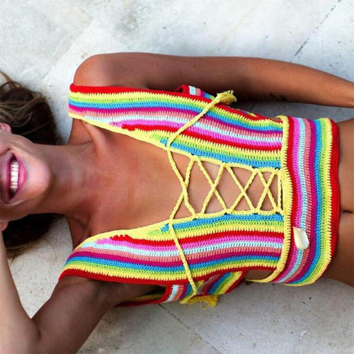 Sexy Rainbow Color Hollow Out Knit Swimsuit