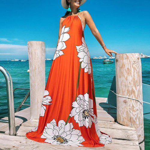 Bohemian Bare Back Off-Shoulder Sleeveless Printed Colour Dress