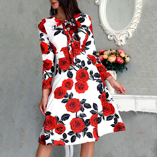 Commuting Round Neck Belted Printed Colour Dress