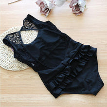 Lace Lotus Leaf Edge Black Open Back Swimsuit