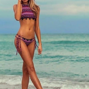 Striped Triangle Print Velvet Ball Bikini