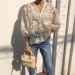 Commuting V Neck Lace Hollow Out See-Through Single-Breasted Blouse