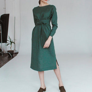 Fashionable Sexy Pure Color Round Collar Long Sleeves Dress