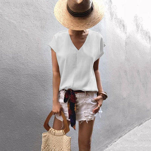 Sexy Chiffon V Neck Short Sleeve Bare Back T-Shirt