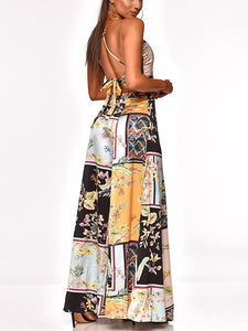 Commuting Sleeveless Off-Shoulder Bare Back Printed Colour Slit Suit