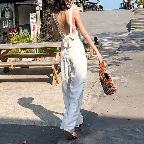 Casual Square-Cut Collar Sleeveless Off-Shoulder Bare Back Jumpsuit