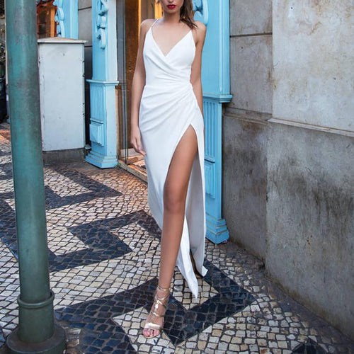 Sexy V Neck Off-Shoulder Bare Back Pleated Evening Dress