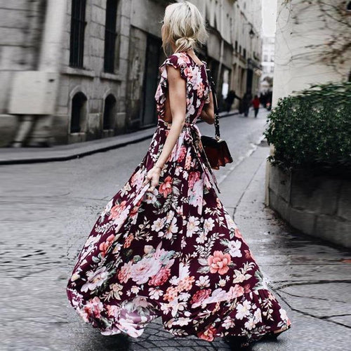 Fashion Printed Colour   Sleeveless Maxi Dress