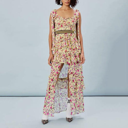 Casual Belted Ruffled Floral Pattern Sleeveless Off-Shoulder Bare Back Dress