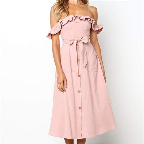 Sexy One Shoulder Bow Casual Dresses