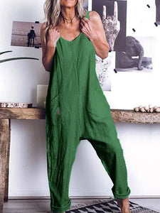 Commuting V Neck Sleeveless Off-Shoulder Bare Back Pure Colour Jumpsuit