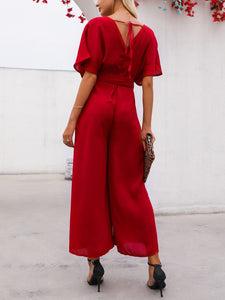 Commuting V Neck Belted Short Sleeve Pure Colour Jumpsuit