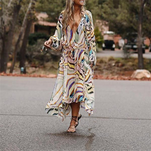 Stylish Breathable Printed   Chiffon V-Neck Midi Dress