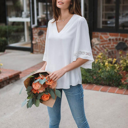 Sexy Solid Color V-Neck Chiffon Medium Sleeves T-Shirt