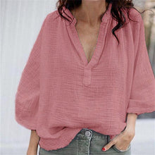 Fashion V Collar Pure Color Shirt
