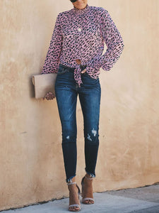 Commuting High Collar Chiffon Leopard Print Elastic Blouse