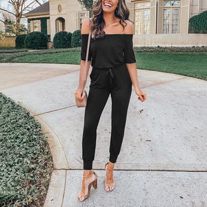 Commuting Boat Neck Belted Pure Colour Off-Shoulder Bare Back Jumpsuit