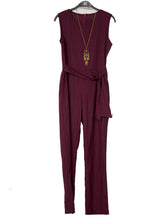 Commuting Pure Colour Loose Belted Sleeveless Jumpsuit