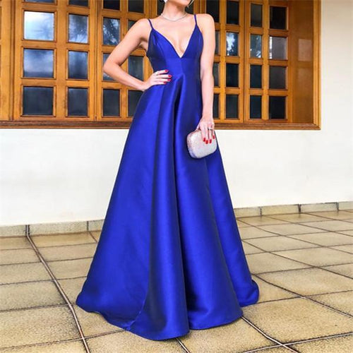 Sexy V Neck Sleeveless Sling Evening Dresses