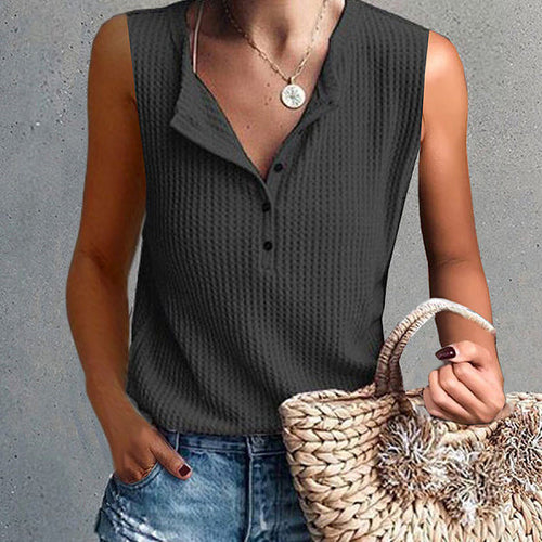 Fashionable Sleeveless Buttonless T Shirt