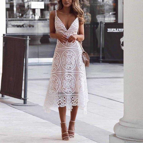 Sexy Lace V Neck Pure Colour Sloping Shoulder See-Through Dress